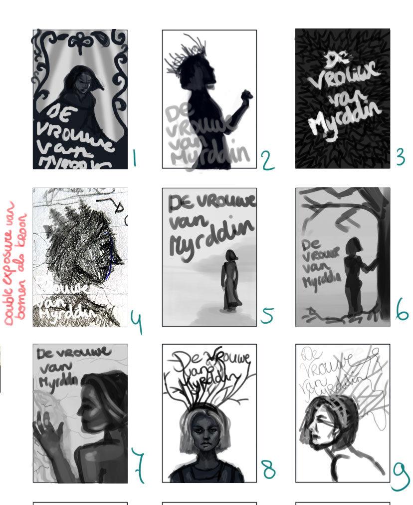 Stap 2 Schetsen Carmen Ploeg van de cover van de vrouwe van Myrdin